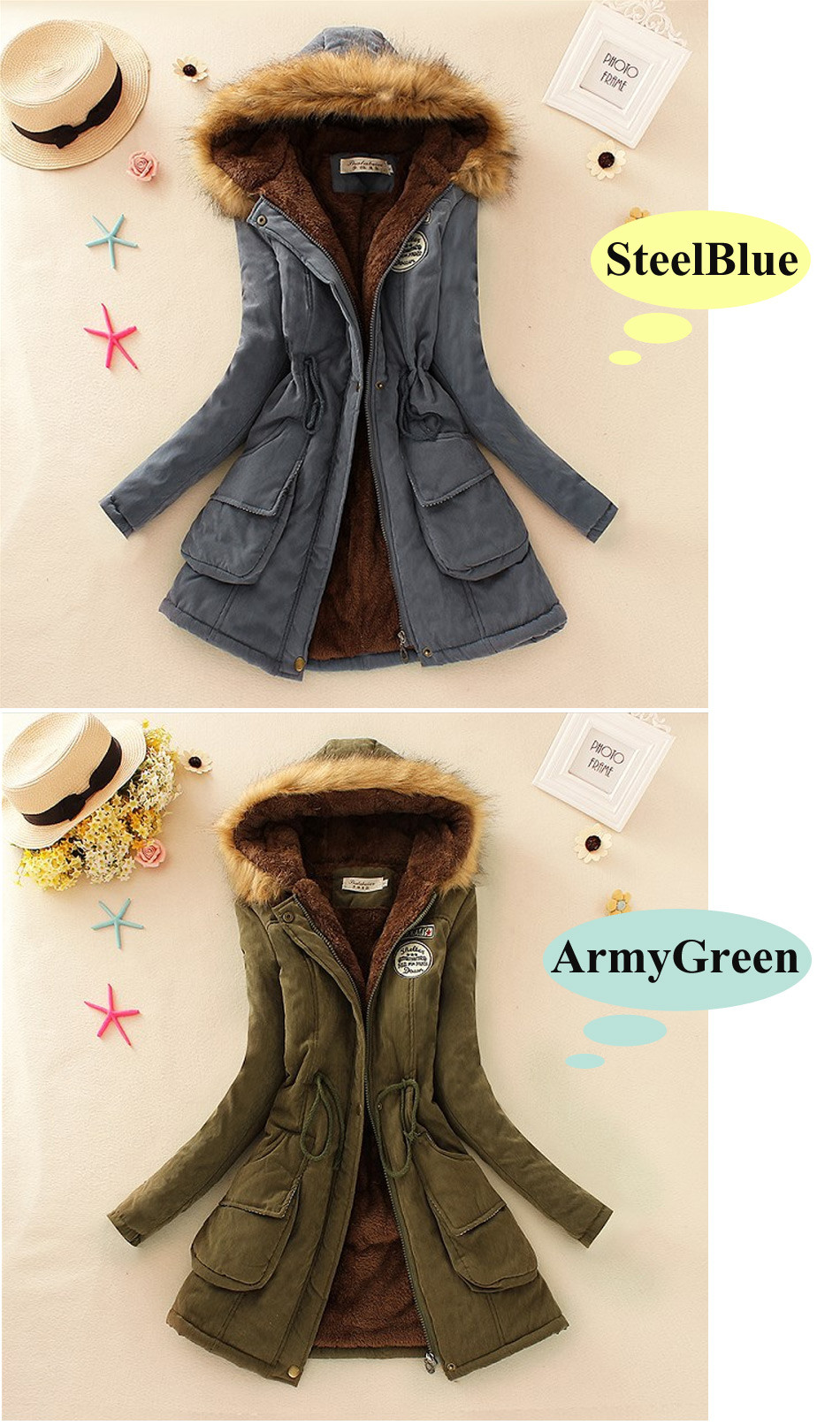 b4e8bdb3b2ac4 QIUXUAN Women Parka Fashion Autumn Winter Warm Jackets Women Fur Collar  Coats Long Parkas Hoodies Office Lady Cotton Plus Size