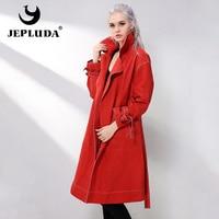 JEPLUDA Women Real Sheepskin Leather Jackets Women's Sheepskin Coat Long Wind Jacket Casual Classic Belt Genuine Leather Parka