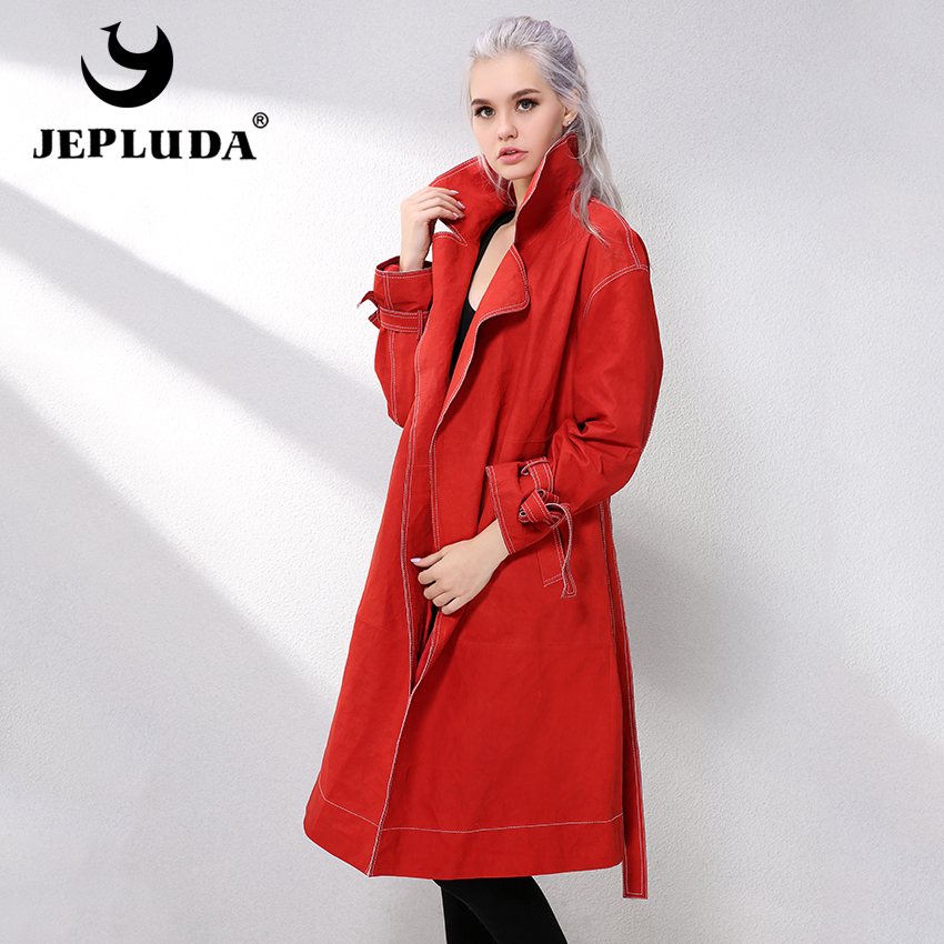 JEPLUDA Women Real Sheepskin Leather Jackets Womens Sheepskin Coat Long Wind Jacket Casual Classic Belt Genuine Leather Parka