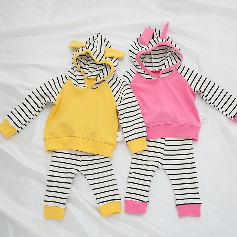 2018 JQ 2pcs Stripes Long Slvee Autumn Newborn Baby Rompers Spring Baby Boy Clothes Yellow Kids Jumpsuit Cotton Infant Clothing