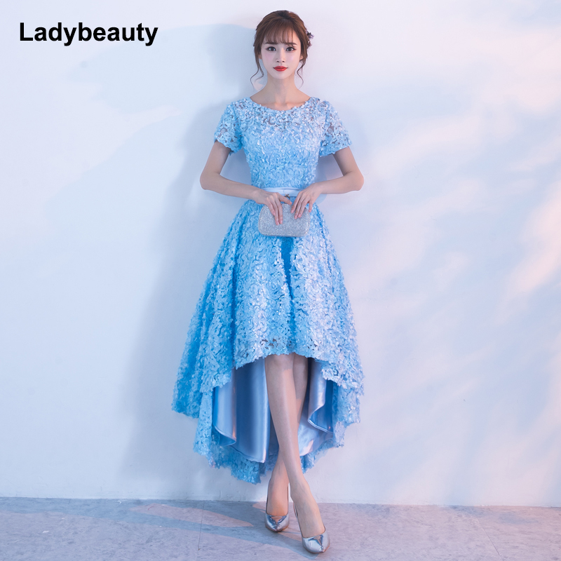 Ladybeauty 2018 Sky Blue Evening Dresses Short Front Long Back Party Gowns Lace Lace petals O