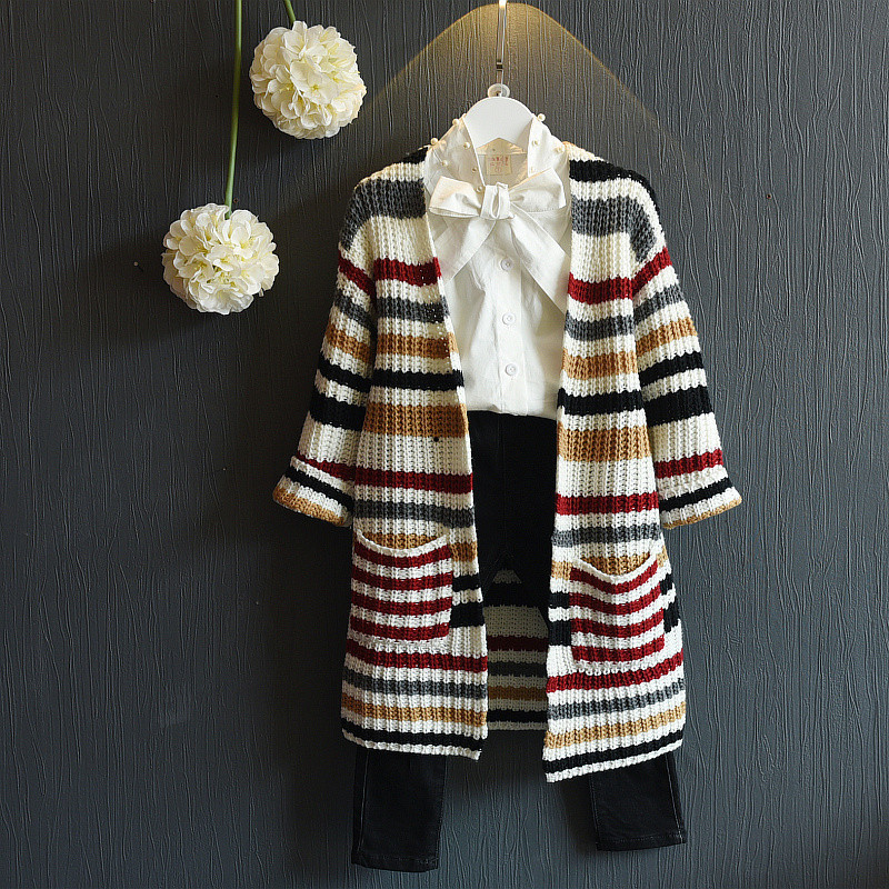 e0e66f682d9 2017 Striped Long Sleeves Girls Sweater Kids Cardigan Girls Spring Autumn Clothes  Baby Cardigan Girl Coats And Jackets JW1234-in Sweaters from Mother   Kids  ...