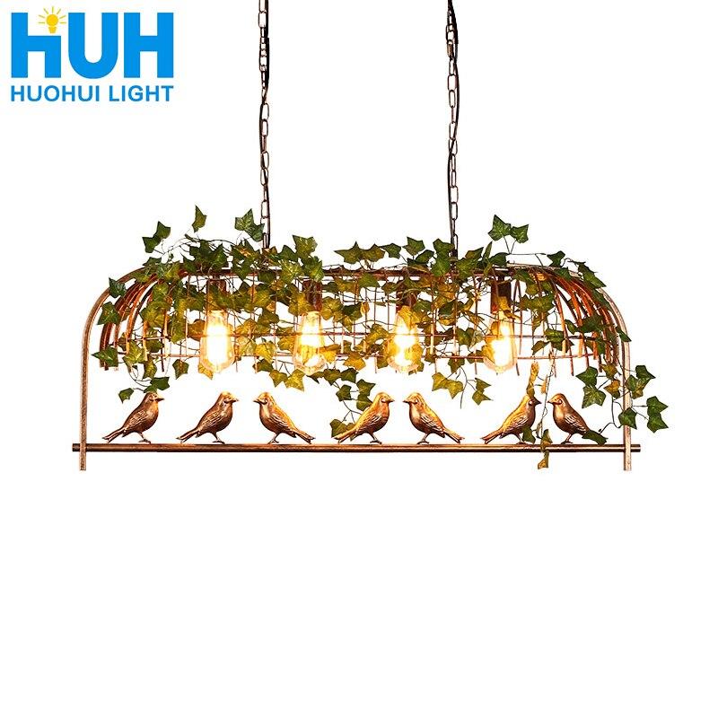 Vintage oiseau pendentif lumière fer américain industriel LOFT Bar café personnalité E27 décor suspendu allée lampe nordique cage à oiseaux lampe