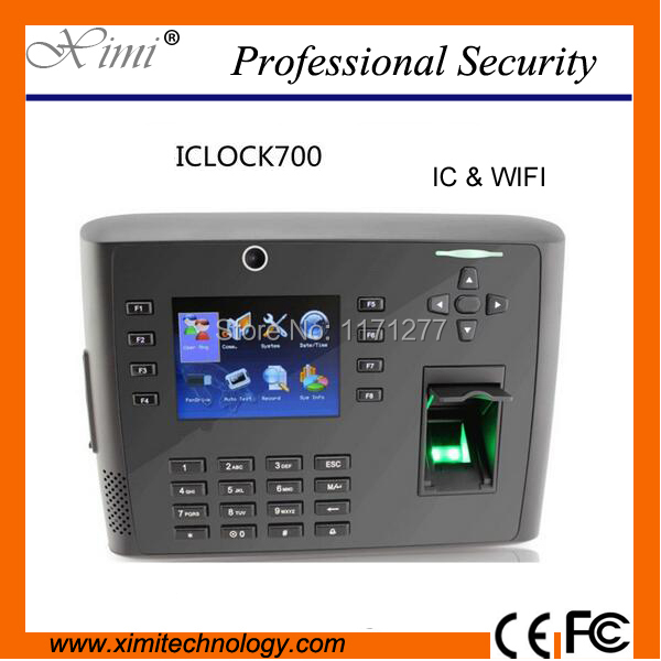 New arival Linux system 13.56MHz card reader WIFI TCP/IP net work Iclock700 fingerprint time attendance & access control system fingerprint access control and time attendance 13 56mhz ic card reader iclock700 power supply electric lock exit button bracket