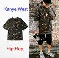 2016 homens ' s Camo Hip Hop t homens camisa militar camuflagem camiseta Homme Camisetas moda Kanye West Camisetas para Streetwear