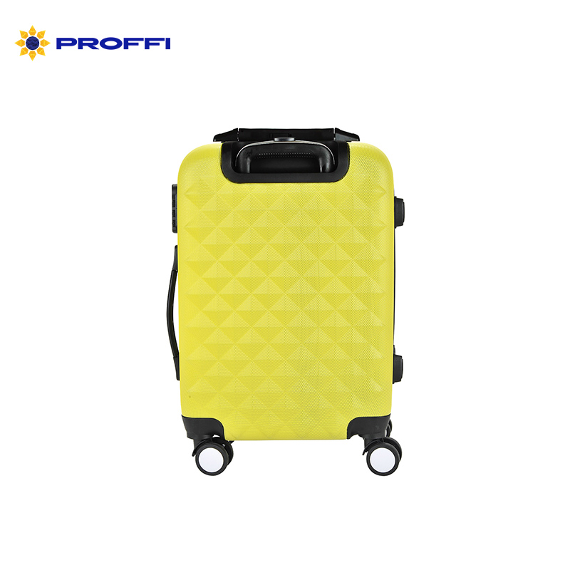 Bright yellow PROFFI TRAVEL ph8857 yellow S, plastic suitcase with built-in scales,  with combination lock on wheels on wheels