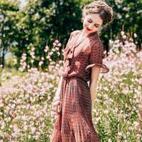 ARTKA Summer Vintage Floral Chiffon Dress Scarf Collar Design Lotus Leaf Sleeve Slim Waist Lady Dresses LA15477X