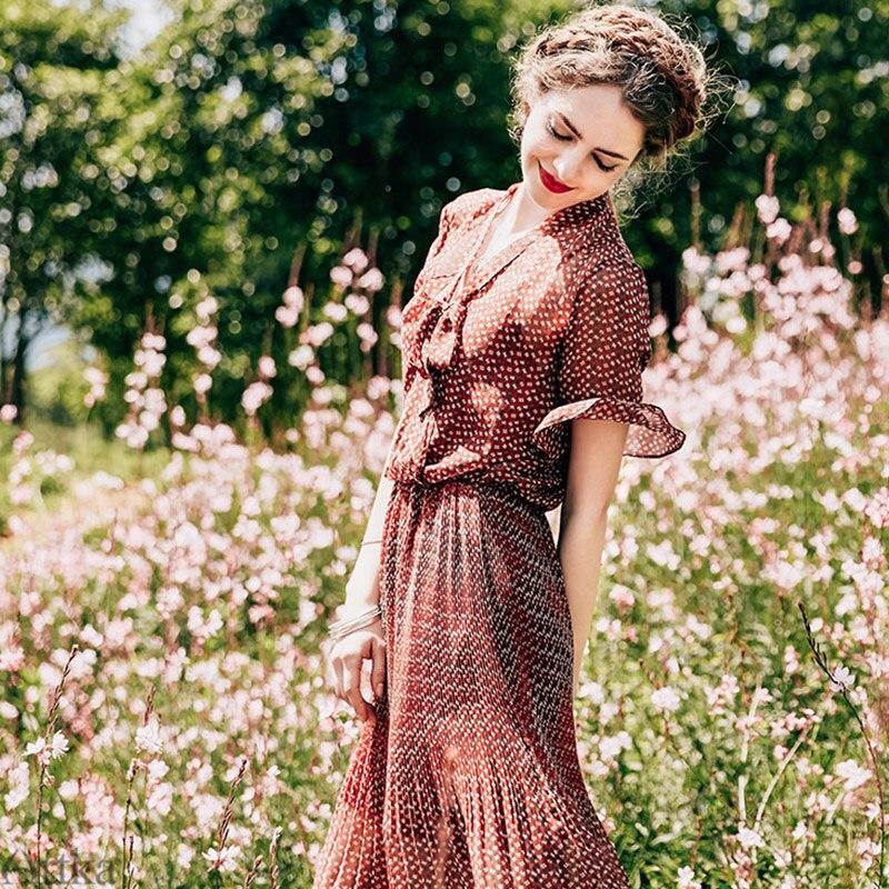 ARTKA été Vintage Floral en mousseline de soie robe écharpe col conception Lotus feuille manches Slim taille dame robes LA15477X-in Robes from Mode Femme et Accessoires on AliExpress - 11.11_Double 11_Singles' Day 1