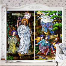 Decorative self adhesive/static cling stained privacy window film church style vintage frosted custom size furniture sticker n11