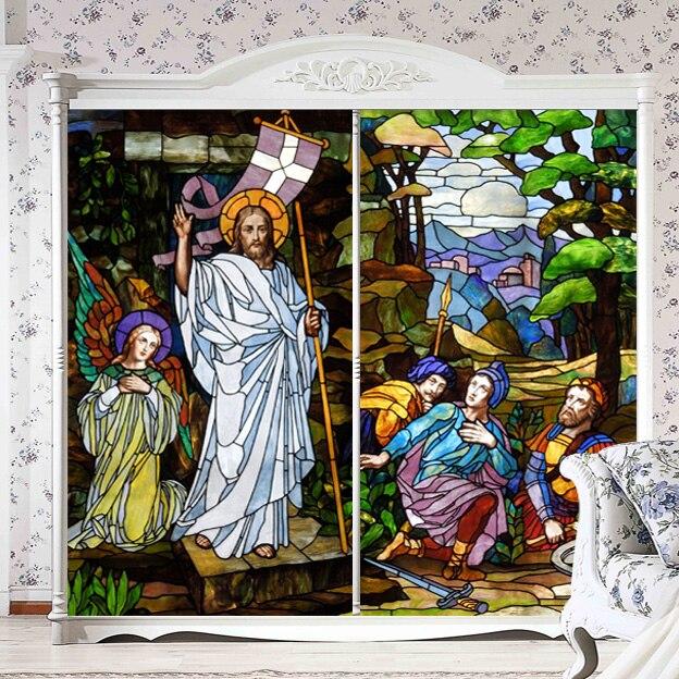 Dekorativní samolepicí / statické lepení obarví soukromí okno film kostel styl vintage matné nábytek vlastní velikosti samolepka n11