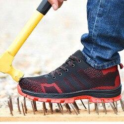 Bezpieczeństwa buty Cap ze stali Toe buty bezpieczeństwa buty dla mężczyzny buty robocze męskie oddychające oczek rozmiar 12 obuwie odporne na zużycie GXZ020