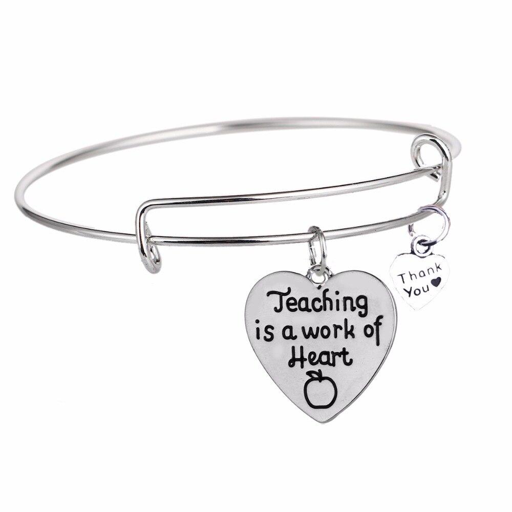 BespmospTeaching Is A Work Of Heart Love Heart Apple Teachers Bracelet Thank You Charm Bangle Gifts Teacher Jewelry Women Men
