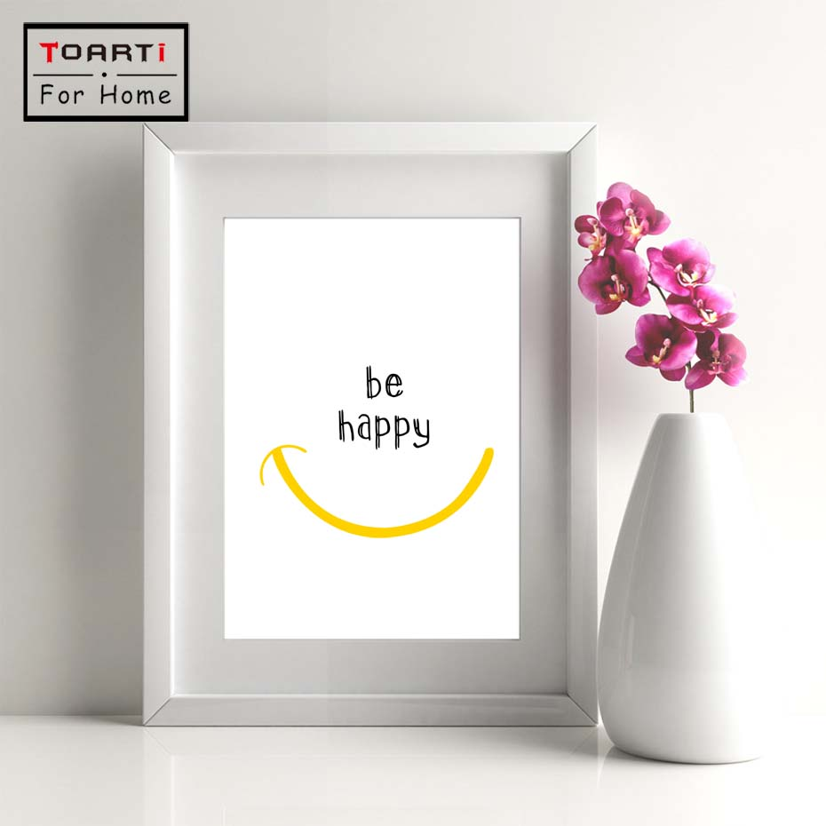 Modern Happy Quotes Canvas Painting Black White Wall Pictures For Kids Room Wall Art Posters And Prints Home Decor in Painting Calligraphy from Home Garden