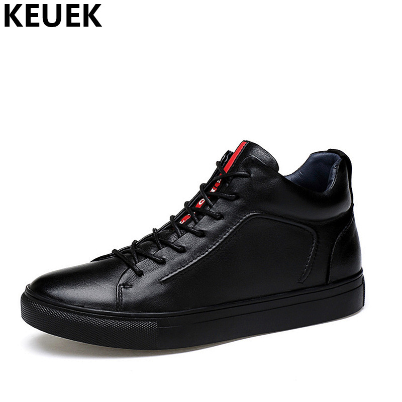 Spring Autumn Fashion Men High-top shoes Genuine leather Lace-Up Loafers Outdoor Casual shoes Youth Male Sneakers Black 3A xiaguocai spring autumn high top men shoes fashion canvas men s casual shoes lace up flat ankle boots for male