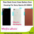100pcs/lot OEM Best Supplier For  Z3 Back Glass Rear-Battery Back Glass-Cover Housing For Sony  Xperia Z3 L55 L55w D6603 D6653