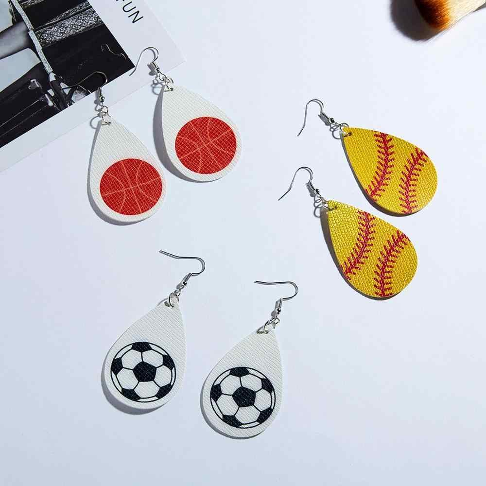 スポーツシリーズフェイクレザー水滴イヤリング野球サッカーバスケットボールプリント Pu レザー女性のための出穂ジュエリー