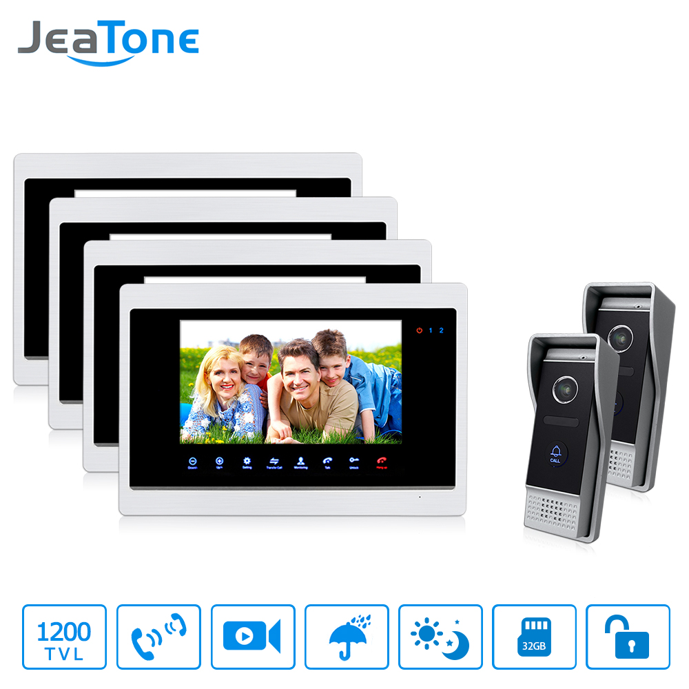 JeaTone 7 inch LCD Screen 4 Monitors 2 Cameras Video Door Phone Doorbell Intercom Hands-free Answering Home Intercom Security Ki jeatone video phone home intercom audio doorbell 3 7mm pinhole cameras with 4 indoor monitor screen wired office intercom