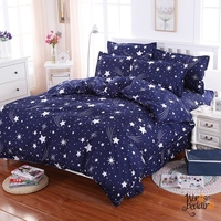 White stars blue sky printed Single Double Queen King Sizes 100% polyester duvet for Comforter blue color bed linens set 3 pcs