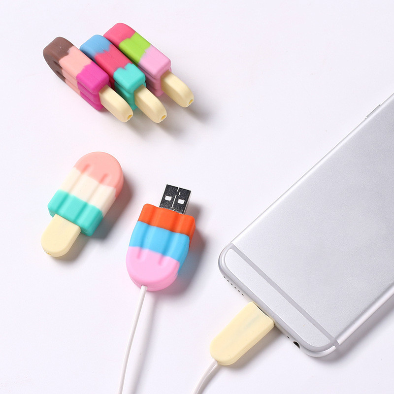 NEW Silicone Cute ice cream cable organizer for iphone cable protector de cabo USB chager