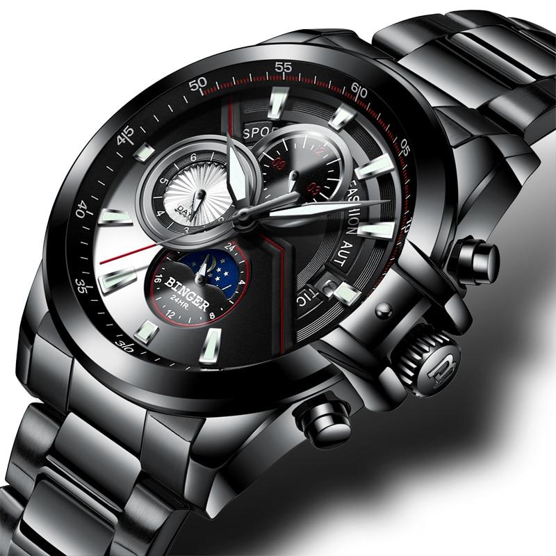 Neue Luxus Marke Männer Uhren BINGER Uhr Männer Mond Phase Leuchtende Uhren Männlichen Wasserdichte Mechanische Armbanduhren B1189 5-in Mechanische Uhren aus Uhren bei  Gruppe 1
