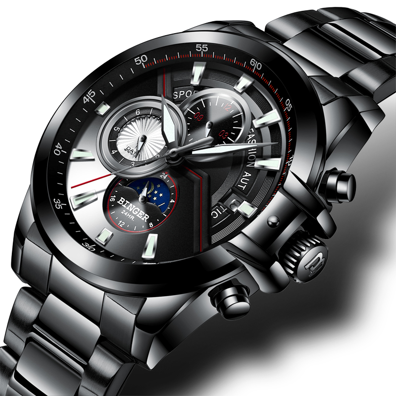New Luxury Brand Men Watches BINGER Watch Men Moon Phase Luminous Watches Male Waterproof Mechanical Wristwatches B1189 5 Mechanical Watches     - title=