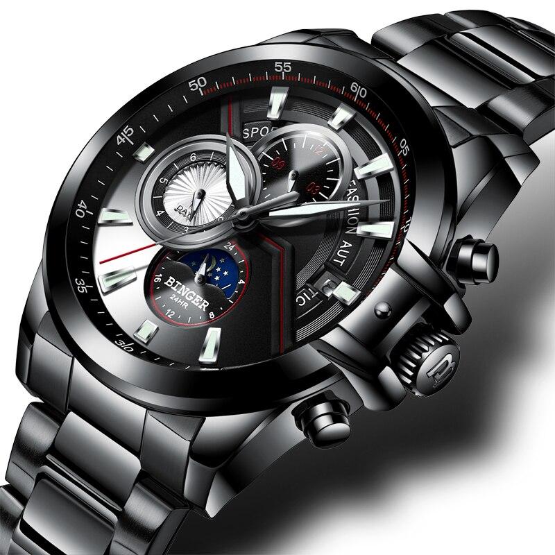 새로운 럭셔리 브랜드 남자 시계 binger 시계 남자 달 단계 빛나는 시계 남성 방수 기계 손목 시계 B1189 5-에서기계식 시계부터 시계 의  그룹 1