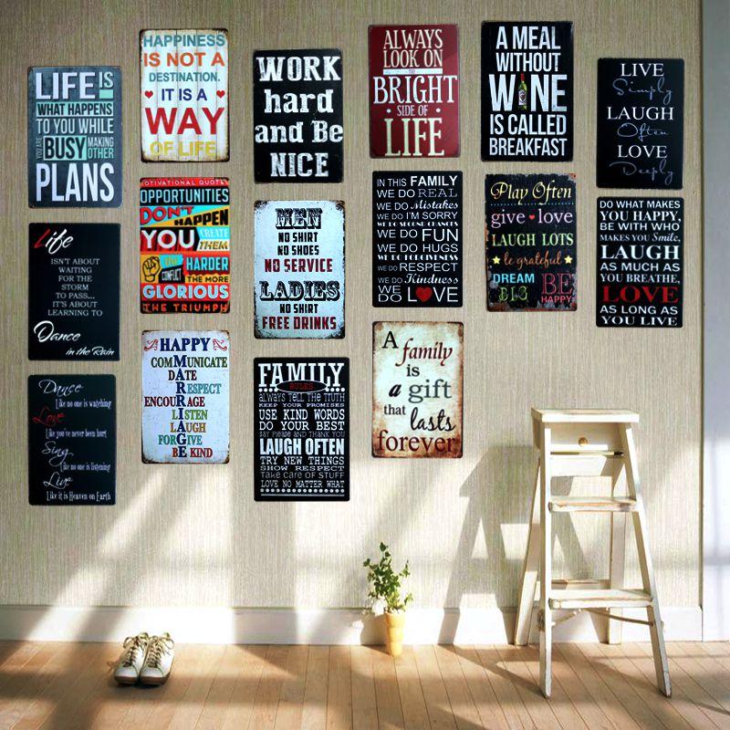 Reglas De La Familia Metal Carteles Retro Placas Para Pared Arte - Placas-para-paredes
