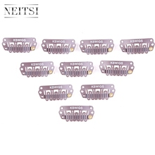 Neitsi U Shape Clips Stainless Steel Hair Snap Clips for Feather Clip In Hair Extensions Wigs Weft 2.8cm 50pcs/pack 4 Colors wholesale 1000pcs lot 24mm u shaped tip hair extension clip wigs hair snap metal clip for clip in human hair extensions