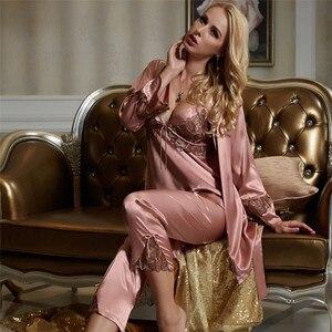 Image 4 - Xifenni pyjama simili pyjama en soie en Satin pour femme, ensemble trois pièces, Sexy, dentelle, vêtements pour la maison, vêtements de nuit en soie