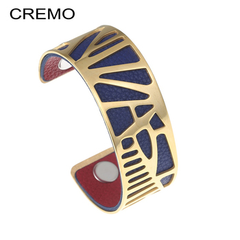 d7db6648ae94 Cremo brazalete pulseras y brazaletes para mujeres de acero inoxidable  pulsera de cuero Manchette Femme hombres joyas encanto Pulseiras