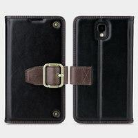 Para Samsung Galaxy Note3 capa de couro Genuíno caso de telefone para Samsung Nota 3 Bolsa Sacos de Cartão Magnético Carteira Do Couro Real bolso