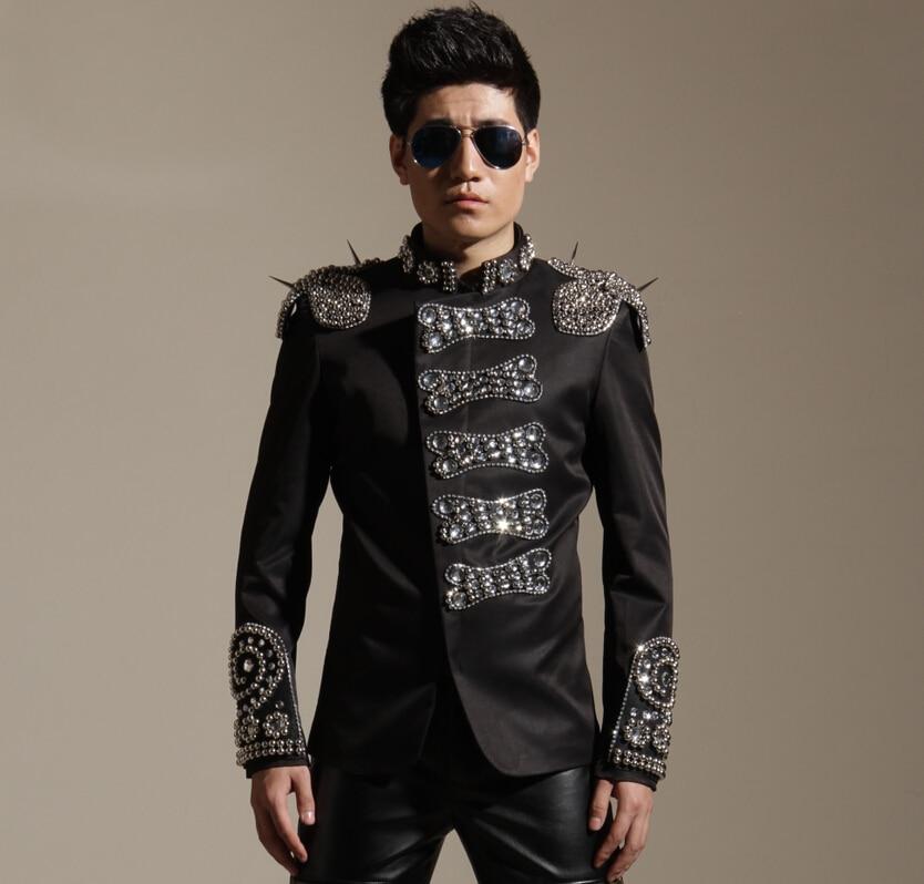 Bling Slim Dj Male Singer Costume Fashion Clothes Bar Punk Rivet - Men's Clothing