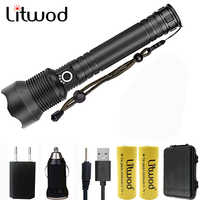 Litwod Z201282 CREE Original XLamp XHP70 rechargeable high powerful Tactical LED flashlight torch light 26650 Battery Lantern