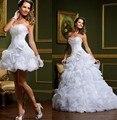 Короткие Свадебные Платья Со Съемной Юбкой 2016 Милая Полный Оборками Из Бисера Невесты Платье Из Органзы Свадебное платье