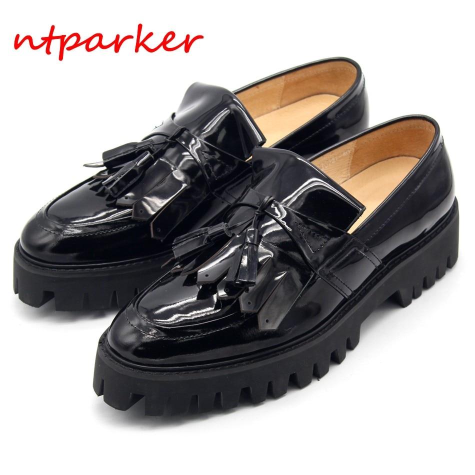 Tassel Fringe Black Patent leather Loafers Man Shoes Platform Slip on Boats Loose Shoe Hombre Zapatillas Size Euro 45 Breathable
