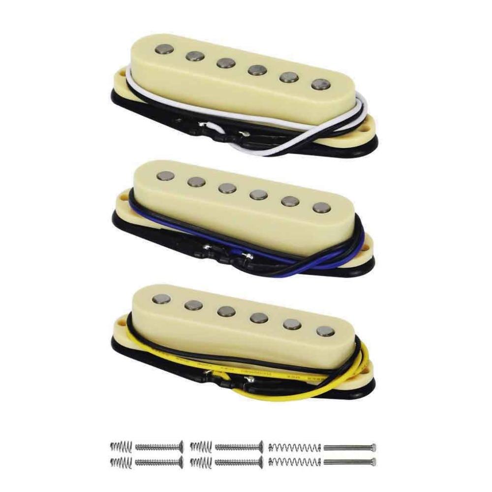 FLEOR Vintage Alnico 5 Single Coil Neck/Mitte/Brücke Pickup 50/50/52mm Set Gelb für FD Strat Gitarre Teile