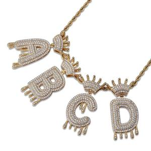 A-Z Custom Name Crown Drip Letters Necklaces & Pendant For Men Women Gold Silver Color Chain Cubic Zircon Hip Hop Jewelry Gifts