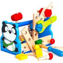 ChildrenS Toy Wood Pretend Panda Tool Repair Maintenance Learning Education Preschool Training Toys