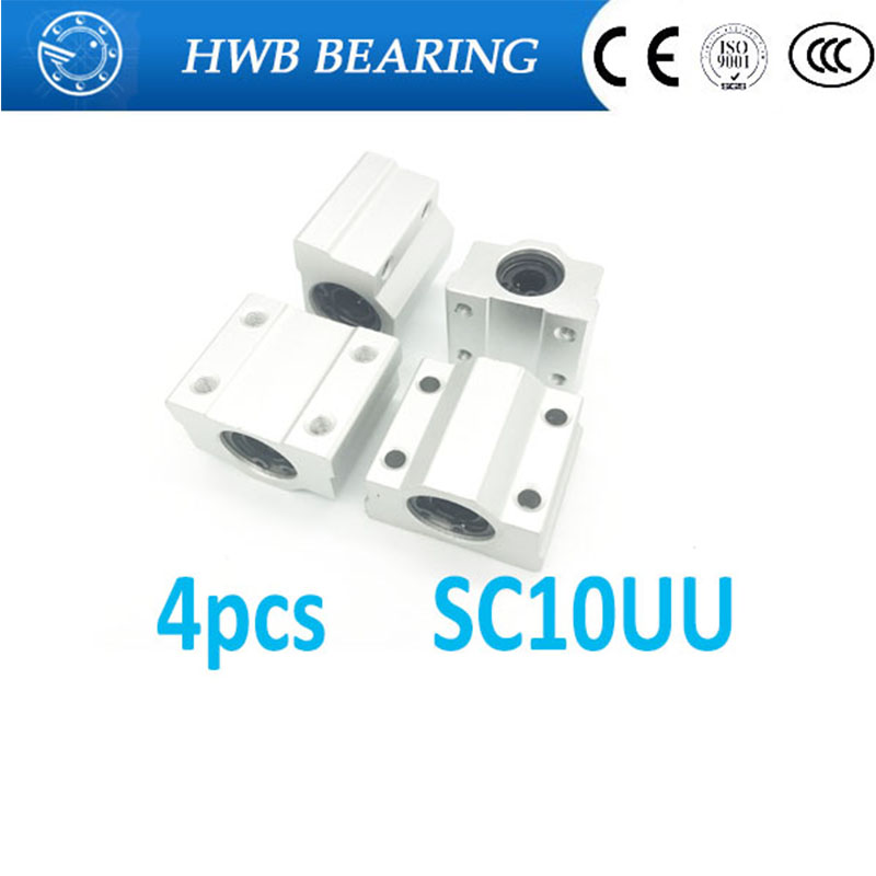 High quality Free Shipping 4pcs SC10UU SCS10UU Linear motion ball bearings slide block bushing for 10mm linear shaft guide rail scv25uu slide linear bearings aluminum box type cylinder axis scv25 linear motion ball silide units cnc parts high quality