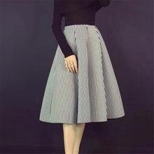 a4a12a680e7 Printemps automne espace coton jupe femmes élastique taille haute rayé jupe  plissée jupes femme longue grande balançoire paraplu.