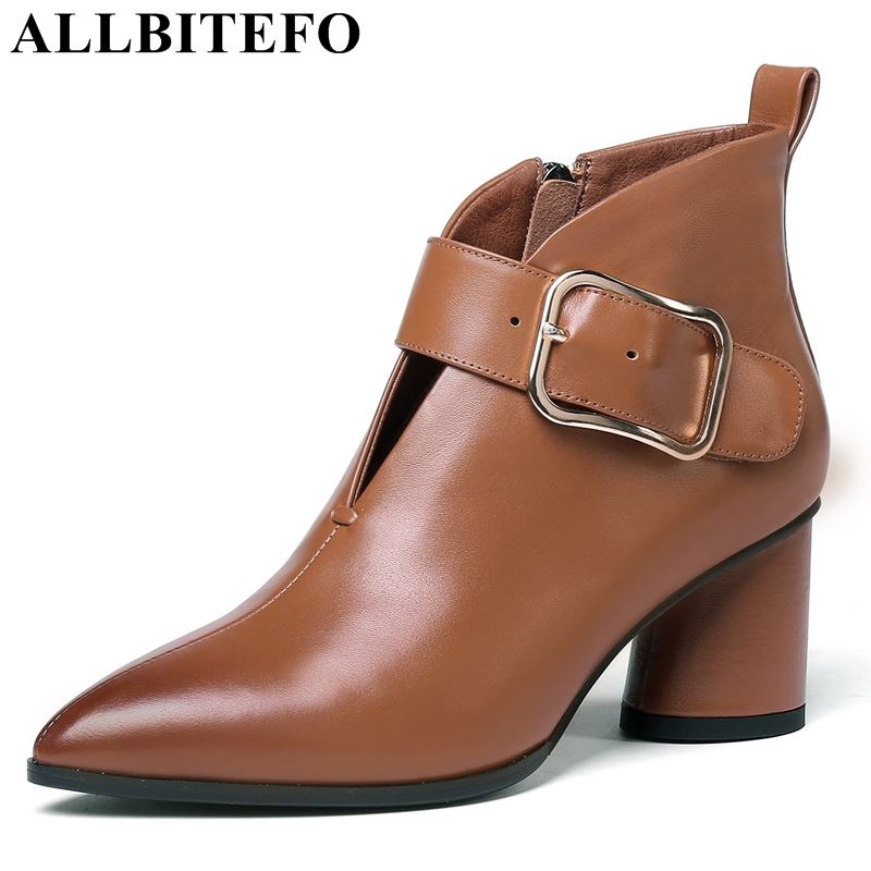 apricot Alto brown Hebilla Moto Mujer Zapatos Tacón Botas