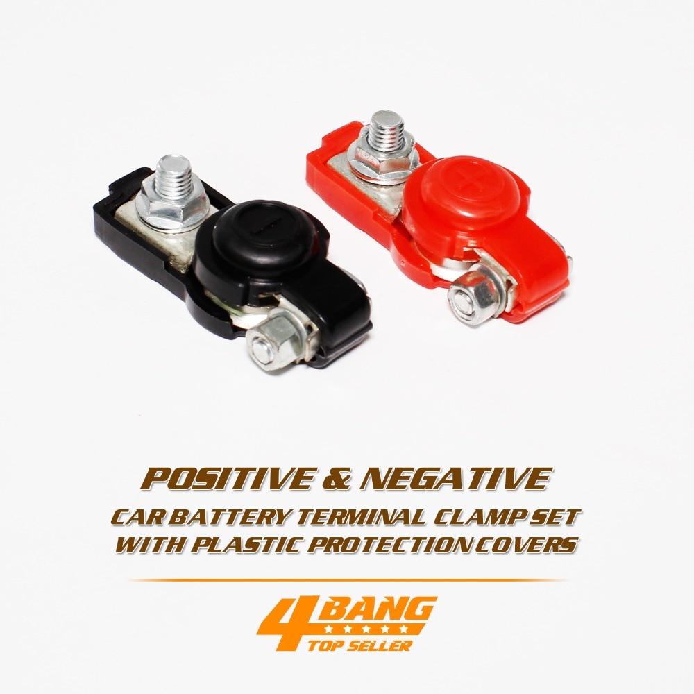 4pcs Battery Cable Terminal Connectors Clamp Top-Post Car Auto Negative/&Positive