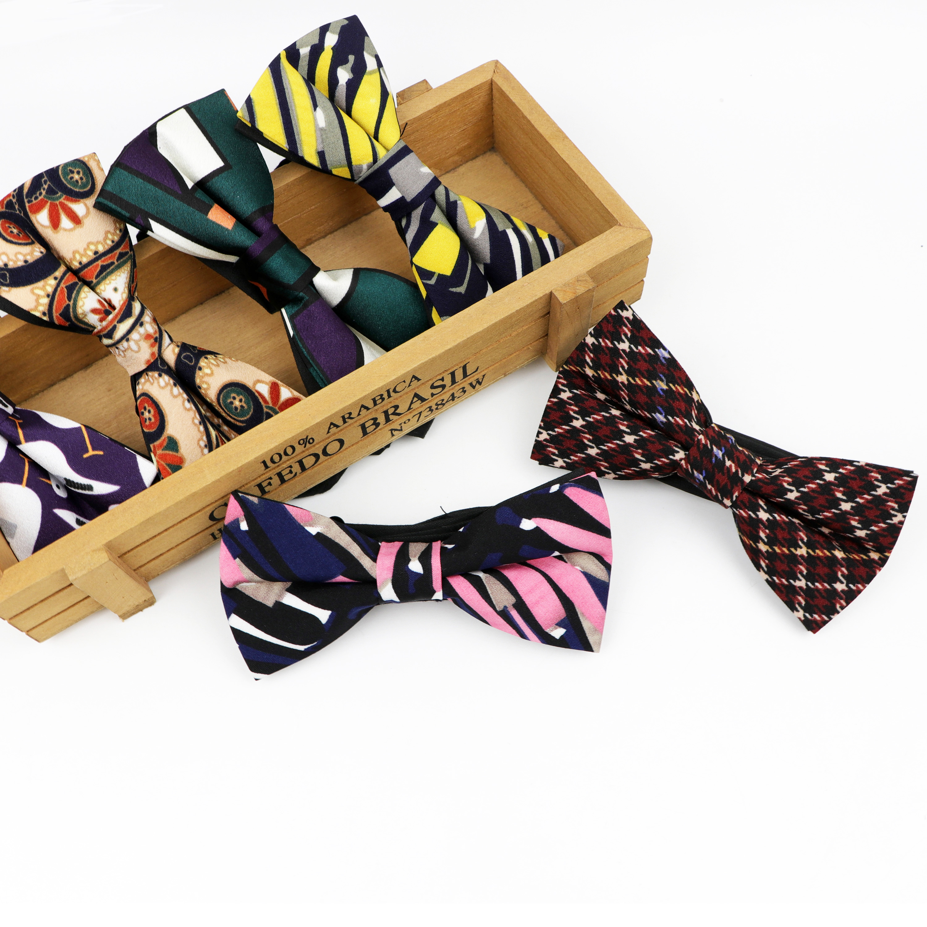 Chiffon Bowtie Flexible Printed Formal Fashion Bow Ties Jacquard Paisley Striped Slim Cravats Neckwear Butterfly