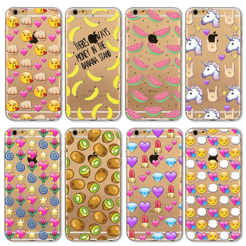 Phone Case For iphone 6 6s 5 5s SE 5C 6plus 6splus 4 4s Cute Fruit and Emoji Painted Fashion Silicone Soft Transparent Back Case