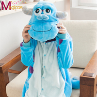 Adultes Flanelle Onesies Animal de Bande Dessinée Pyjamas Sulley/Bleu Vache Pyjamas Cosplay Halloween Party Costume de Nuit Pour Hommes Femmes
