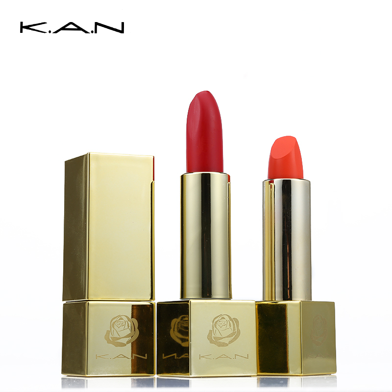 KAN Luxurious Gold Matte Lipstick Waterproof Non-stick Up Lip Cream Retro Batom Nude Moisturize Lip Stick Brand Makeup Pigment