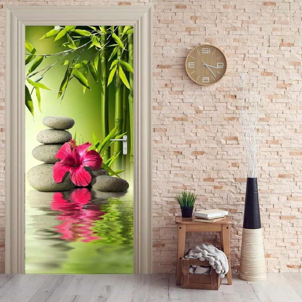 Door Mural Zen Bamboo Stones Door Sticker Wallpaper 3d Mural
