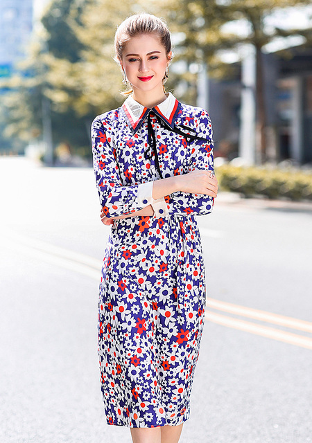 Vintage Embroidery Bow Print Dresses