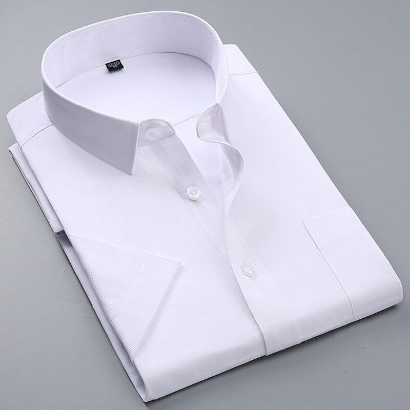 Hommes d'été À manches Courtes Blanc De Base Robe Chemise avec Unique Poitrine Pocket Slim-fit Affaires Formelle Solide/sergé/chemises unies
