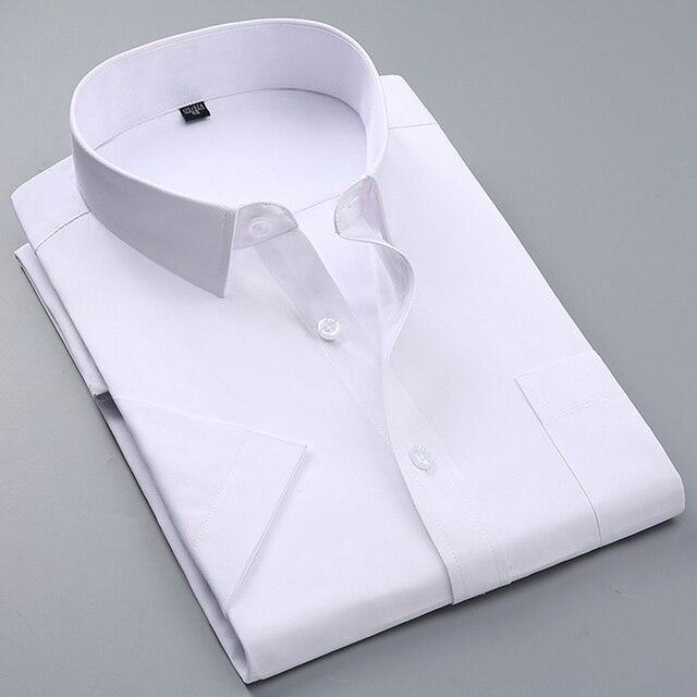 קיץ גברים קצר שרוול לבן בסיסי שמלת חולצה עם אחת חזה כיס Slim-fit עסקי פורמליות מוצק /אריג/רגיל חולצות